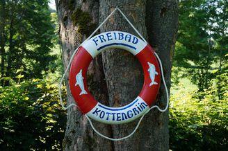 Das Bild zeigt einen Rettungsring vom Freibad Kottengrün am Baum hängend.